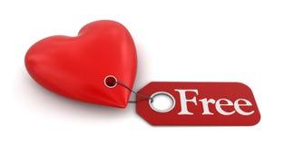 Coeur avec le label gratuit (chemin de coupure inclus) Photographie stock libre de droits
