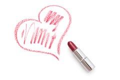 Coeur avec le rouge à lèvres. Photo stock