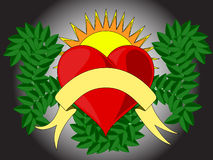 Coeur avec le soleil Photos stock