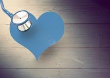 Coeur avec le stéthoscope Image libre de droits