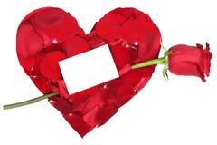 Coeur avec le sujet d'amour de rose de rouge Valentine et le jour de mères, W Photos libres de droits