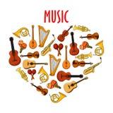 Coeur avec le symbole classique d'instruments de musique Photographie stock