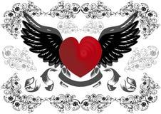 Coeur avec les ailes et le fond Illustration Stock