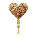 Coeur avec les graines de tournesol écossées Photographie stock
