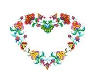 Coeur avec oriental - fleurs ethniques décoratives européennes Ornement d'aquarelle de Pâques l'Europe Photographie stock