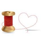 Coeur avec un fil d'aiguille et une bobine, conception de vecteur Photo libre de droits