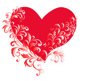 Coeur avec un ornement de fleur Photographie stock