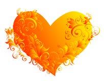Coeur avec un ornement de fleur Photos stock