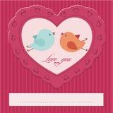 coeur avec une paire d'oiseaux Photos stock