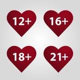 Coeur avec une restriction à l'âge Vecteur Illustration Stock