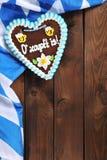 Coeur bavarois de pain d'épice avec le drapeau bavarois Photo libre de droits