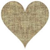 Coeur beige de textile de toile de jute de jute sur le blanc Images libres de droits