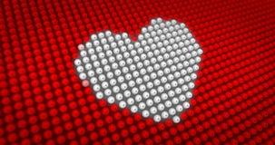 Coeur blanc battant sur le grand affichage à LED Image stock