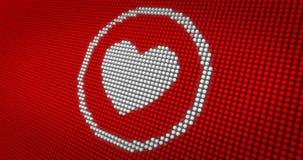 Coeur blanc battant sur le grand affichage à LED Photographie stock