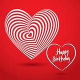 Coeur blanc de joyeux anniversaire sur le fond rouge Illusion optique o Photo stock