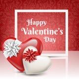 Coeur blanc et rouge pour le jour du ` s de Valentine Photo stock
