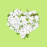 Coeur blanc floral Photos libres de droits