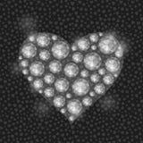 Coeur blanc rempli de Diamond Gem Stones Photos stock