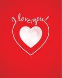 Coeur blanc sur un fond rouge Image stock