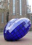 Coeur bleu au centre de la ville Delft, Pays-Bas Images stock