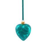 Coeur bleu de Noël d'isolement la nouvelle année de fond blanc Image stock