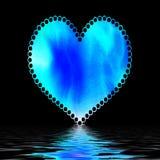 Coeur bleu sur le noir Image libre de droits
