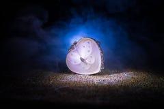 Coeur brûlant de LED Concept de Valentine Fond brumeux modifié la tonalité foncé Photos stock