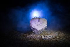 Coeur brûlant de LED Concept de Valentine Fond brumeux modifié la tonalité foncé Photographie stock libre de droits
