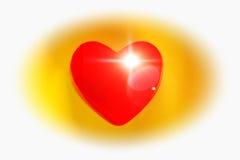 Coeur brûlant sur le fond jaune Images libres de droits