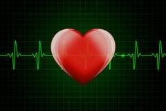 Coeur brillant rouge sur le fond foncé avec la ligne verte de battement de coeur Image libre de droits