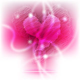 Coeur brillant rougeoyant de griffonnage Photographie stock