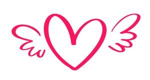 Coeur calligraphique tiré par la main de jour de valentines de vecteur avec des ailes Valentine d'élément de conception de vacanc illustration stock