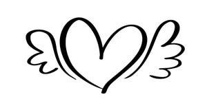 Coeur calligraphique tiré par la main de jour de valentines de vecteur avec des ailes Valentine d'élément de conception de vacanc illustration de vecteur