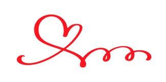 Coeur calligraphique tiré par la main rouge de jour de valentines de vecteur Valentine d'élément de conception de vacances Décor  illustration de vecteur