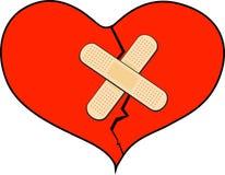 Coeur cassé avec le bandage Photographie stock