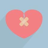 Coeur cassé avec le bandage Images libres de droits