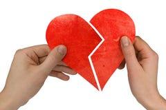 Coeur cassé de fixation mâle et femelle Photos stock