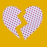 Coeur cassé de point de polka Photos libres de droits
