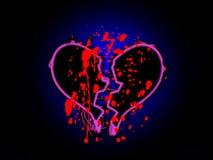 Coeur cassé souillé par sang Photographie stock libre de droits