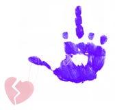 Coeur cassé sur le doigt fâché Photo stock
