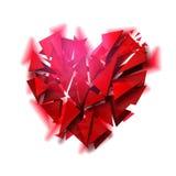Coeur cassé sur un fond blanc Photos libres de droits