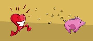Coeur chassant une tirelire Illustration Libre de Droits