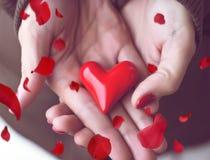 Coeur chez des mains de la femme et des pétales rouges Photo libre de droits