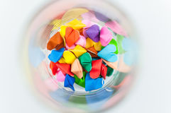 Coeur coloré d'origami en verre Photos stock