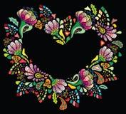 Coeur coloré de fleur Photographie stock