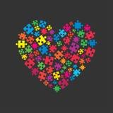 Coeur coloré de puzzle Logotype denteux Amour Image libre de droits
