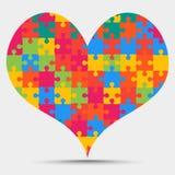 Coeur coloré Valentine Love de puzzle de morceau Illustration de Vecteur