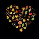 Coeur complètement des fleurs imaginaires Images stock