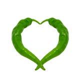 Coeur composé de poivrons verts Photographie stock