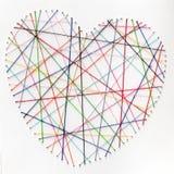 Coeur cousu de fil de coton Photographie stock